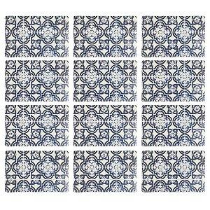 Jogo Americano Polipropileno Retangular 12 Lugares Estampado Blue Tiles Cozinha Mesa Posta