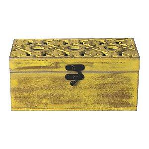 Baú em Madeira Caixa Decorativa Organizadora Porta Treco Rústico Multiuso Design Decoração