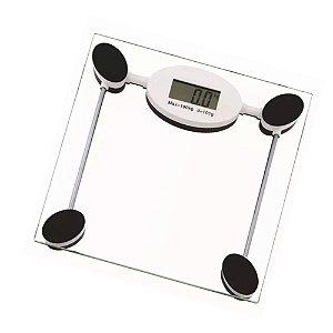 Balança Digital de Banheiro 180 kg Corporal Eletrônica Vidro Temperado Visor LCD Uso Doméstico Saúde