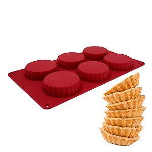 Forma de Silicone Antiaderente Para 06 Tortinhas Tartelete Carol Fiorentino Vermelha Confeitaria
