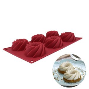 Forma de Silicone Antiaderente Para 06 Mini Flan Pudim Muffin Carol Fiorentino Confeitaria