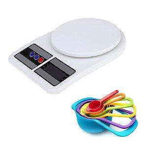Conjunto de Colher Xícara Medidora e Balança de Cozinha Digital Precisão Preparação Confeitaria