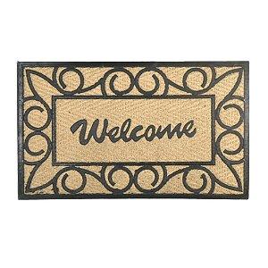 Capacho em Fibra de Coco e Borracha Antiderrapante Welcome Tapete de Entrada 40x60 cm Casa Decoração