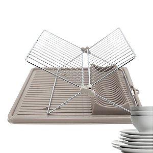 Escorredor de Louça Prato Dobrável Plástico e Inox 34,5 x 34,5 cm Economiza Espaço Cozinha Pia