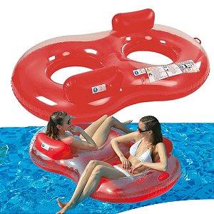 Boia Inflável Para Piscina Gigante Espreguiçadeira Dupla Vermelha 188 x 117 cm Loveseat Lounge