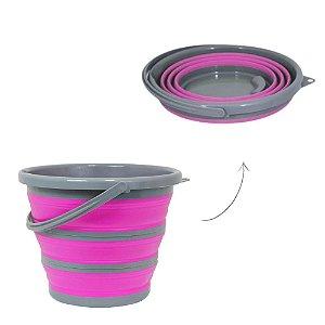 Balde Retrátil Dobrável 10 Litros Rosa Plástico Silicone Portátil Limpeza