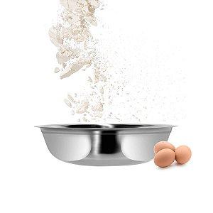 Bowl Tigela Bacia Redonda Multiuso em Aço Inoxidável 25,5 x 9,5 cm Cozinha Completa