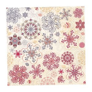Guardanapo de Papel Decorado Estampado Natal Snow Flakes Pacote com 20 unidades Premium Luxo