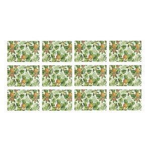 Jogo Americano Retangular 12 Lugares Abacaxi 43 x 28 cm em Polipropileno  Cozinha Mesa Posta