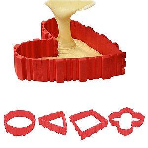 Jogo 04 Tiras de Silicone Para Assar Bolo em Diferentes Formatos Cinta Cozinha Confeitaria