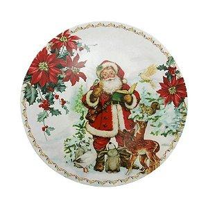 Sousplat Natal Lugar Americano Redondo 33cm Polipropileno Papai Noel BicoPapagaio Decoração Enfeite