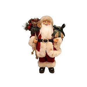 Papai Noel com Saco de Presentes Decoracao Natalina Boneco Decorativo Enfeite de Natal 30cm Clássico