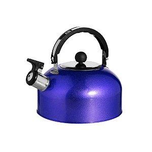 Chaleira em Aço Inoxidável Com Apito 02 Litros Alça Móvel Água Quente 19 x 13 cm Chá Café