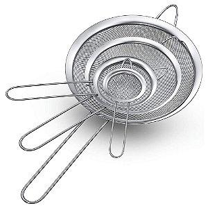 Kit 04 Peneiras em Aço Inoxidável com Tela Fina Coador Polvilhar Utensilio de Cozinha