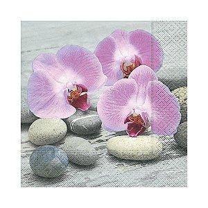 Guardanapo de Papel Decorado Orquídea Pacote com 20 unidades Premium Luxo Orchids and Stones