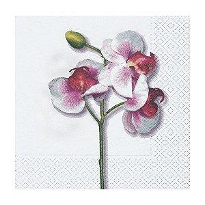 Guardanapo Papel Decorado Branco Orquídea Pacote com 20 unidades Luxo Classic Orchid Premium