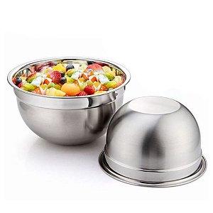 Kit 2 Tigela Bowl Aço Inox 28 e 30cm Fundo Multiuso Profissional Cozinha Completa Chef Gourmet