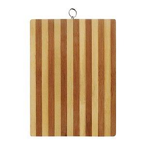 Tabua de Corte Churrasco Carne em Bambu Listrado 36 x 25cm Frios Rústica Cozinha Completa Moderna