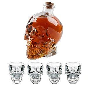 Jogo Licoreira Garrafa e 4 Copos Para Shot em Vidro Transparente Caveira Cranio Bebida Bar