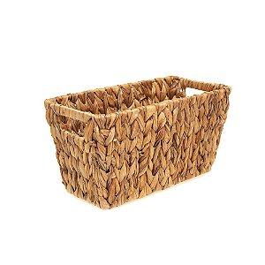 Cesta Organizadora em Palha de Seagrass Fibra Natural Decorativa 30 x 16cm Artesanal Casa