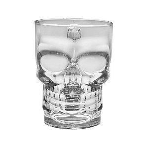 Caneca Copo Caveira Viking Para Chopp Cerveja em Vidro Transparente Cranio 350ml Skull