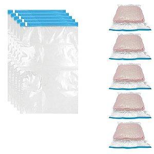 Kit 05 Saco Plástico Organizador a Vácuo Extra Grande 70 X 100 Cm Roupa Organização Reduz Espaço