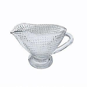 Molheira em Vidro Decorado Lapidado Cremeira 170ml Venice Servir Molhos Quentes ou Frios Mesa Posta