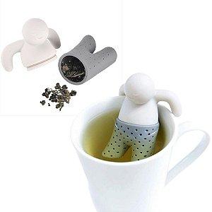 Infusor de Chá Boneco em Silicone Difusor Mister Tea 8 cm Divertido Moderno Cinza