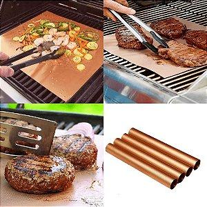 Kit 4 Mantas Grill em Teflon Antiaderente Para Assar Carnes Legumes na Churrasqueira Sem Gordura Reduz Fumaça