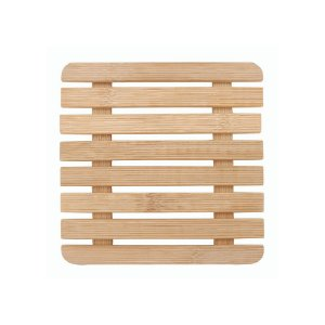 Descanso de Panela e Travessa Suporte Apoio Quadrado em Bambu 17 cm Mesa Posta Servir