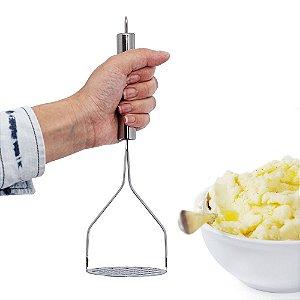 Espremedor de Batata Amassador Pure em Aço Inox Resistente 25cm Resistente Utensilio de Cozinha