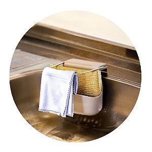 Suporte Para Esponja de Pia Porta Bucha Com Ventosa Cozinha Organização 12 cm Limpeza Top Clean