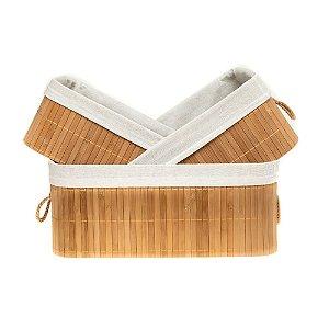 Conjunto 03 Cesto de Bambu Organizador Retangular Natural 27 32 37cm Caixa Banheiro Lavanderia