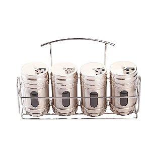 Conjunto Porta Temperos e Condimentos em Aço Inoxidável 4 Potes Com Suporte Cozinha Completa