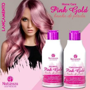 Shampoo e condicionador pink gold 300ml