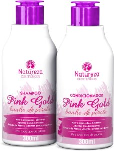 SHAMPOO E CONDICIONADOR PINK GOLD 300ml - NATUREZA