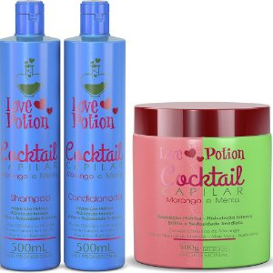 KIT COCKTAIL MORANGO E MENTA HIDRATAÇÃO - SHAMPOO + MÁSCARA + CONDICIONADOR - LOVE POTION