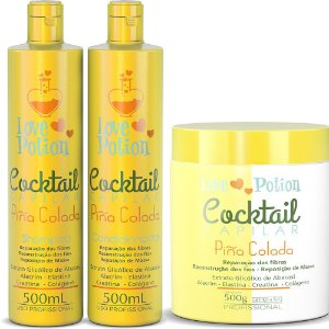 COCKTAIL PINÃ COLADA RECONSTRUÇÃO - SHAMPOO+CONDICIONADOR-500ML+MÁSCARA 500G  LOVE POTION