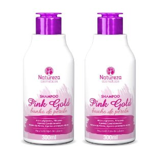 2 SHAMPOO 300ML- HOME CARE PINK GOLD - NATUREZA COSMÉTICOS
