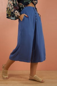Pantacourt Botões Lisa Azul