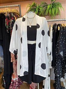 Kimono Poá Branco