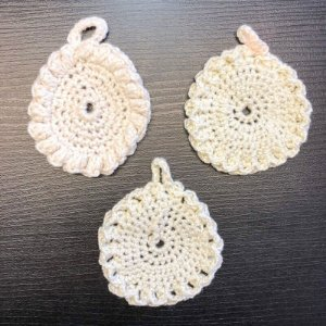 KIT 3x EcoPads Discos de Crochê 100% Algodão - Demaquilante / Limpeza Facial