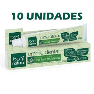 KIT 10x Creme Dental Sem Flúor Menta e Melaleuca – Boni Natural