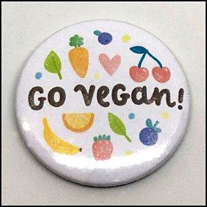 Broche / PIN / Boton Vegano - Go Vegan V.2