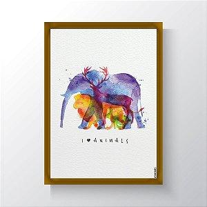 Quadro Vegano Moldura Dourada - I Love Animals