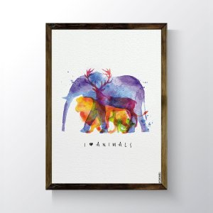 Quadro Vegano Moldura Natural - I Love Animals