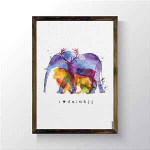 Quadro Vegano Moldura Natural - I Love Animals