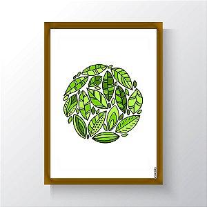 Quadro Vegano Moldura Dourada - Plants