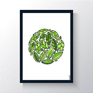 Quadro Vegano Moldura Azul - Plants