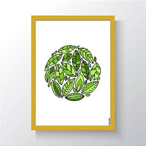 Quadro Vegano Moldura Amarela - Plants